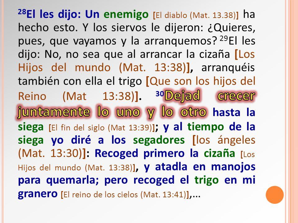 28El les dijo: Un enemigo [El diablo (Mat. 13. 38)] ha hecho esto